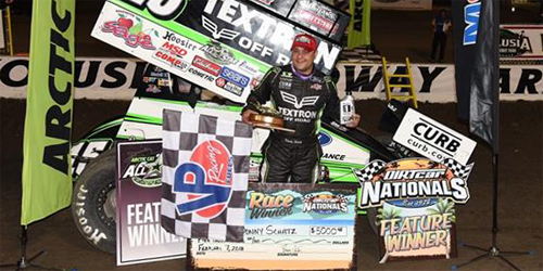 Schatz Rallies to Win DIRTcar Nationals Opener